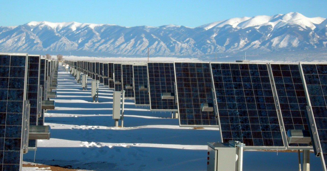 PV cells at the base of the mountains.